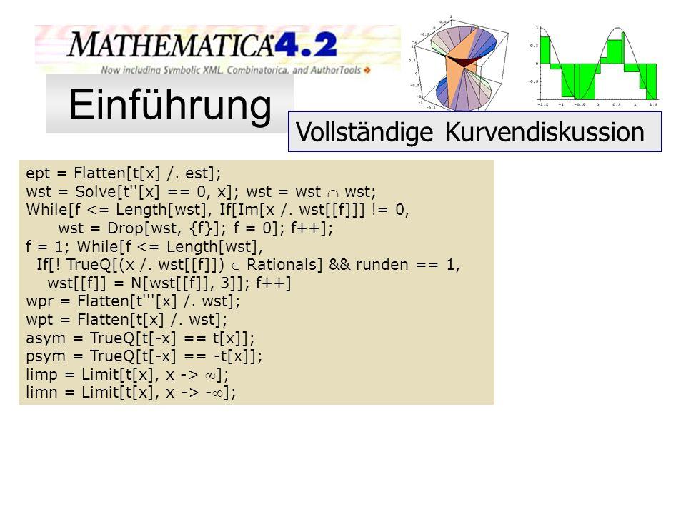 Einführung Vollständige Kurvendiskussion ept = Flatten[t[x] /. est];